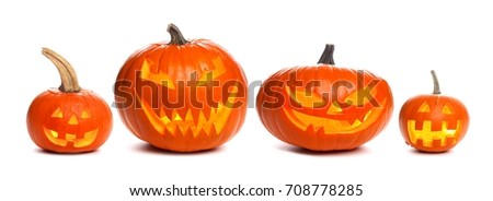 Group of unique illuminated Halloween Jack o Lanterns individually isolated on a white background #708778285