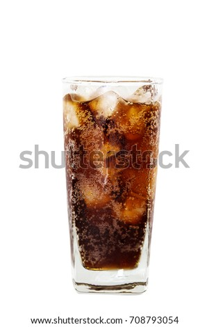 A glass of cola with ice isolated on white background with clipping path. #708793054