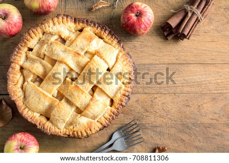 Classic Apple Pie Dessert. Homemade American Pie from Organic Autumn Apples. #708811306