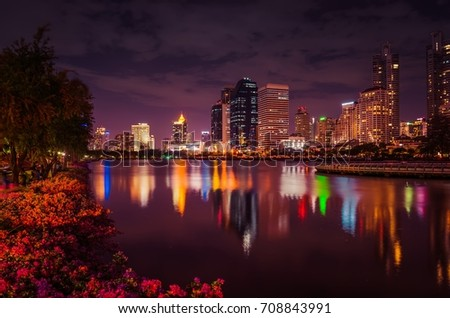 Night city,Night city at the park with commercial building,office building in the night,central business downtown,Bangkok    #708843991