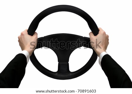 Hands on the steering wheel isolated on a white background #70891603