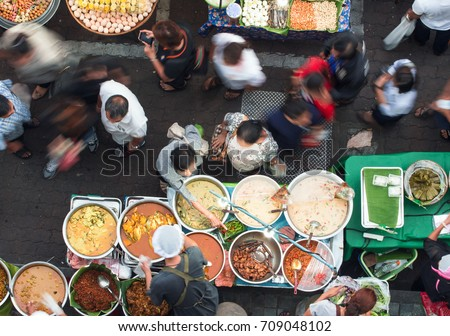 Bangkok street food has many delicious dishes and many kinds of dishes to choose from, such as Thai Curry, Tamarind, Tom Yam, Shrimp, Pork, Thai. The sweet food of Thailand. #709048102