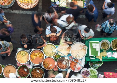 Bangkok street food has many delicious dishes and many kinds of dishes to choose from, such as Thai Curry, Tamarind, Tom Yam, Shrimp, Pork, Thai. The sweet food of Thailand. #709048117
