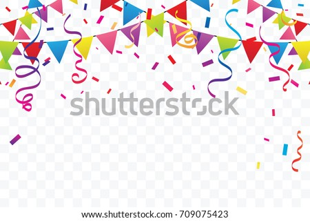 Colorful Party Flags With Confetti And Ribbons Falling On Transparent Background. Celebration Event & Happy Birthday. Multicolored. Vector Royalty-Free Stock Photo #709075423