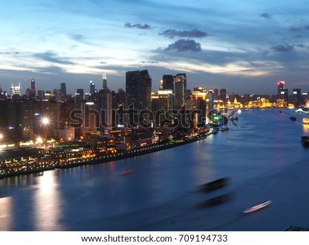 Sunset River at Shanghai #709194733