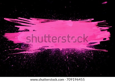 pink watercolor brush stroke. Varnish splash label. Abstract shape oil paint smear on black background.