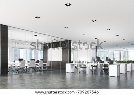 Two conference rooms with glass and dark wooden walls and an open space open office area. A poster. 3d rendering mock up