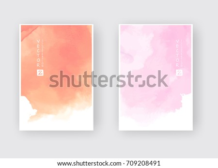 Watercolor color design banners set. Vector illustration