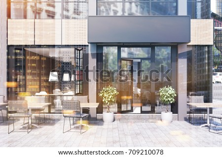Modern black and gray cafe interior with a rectangular sign, wooden tables and metal chairs. 3d rendering mock up toned image double exposure