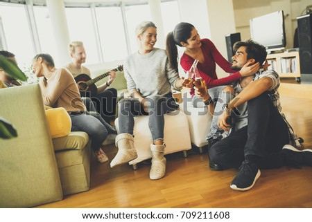 Group of young people have a fun at home #709211608