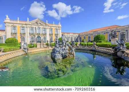 Baroque facade of Queluz National Palace and Neptune Fountain in Sintra, Lisbon district. Defined as the Versailles of Portugal, the Royal Palace of Queluz was used as a fun place for the royal family