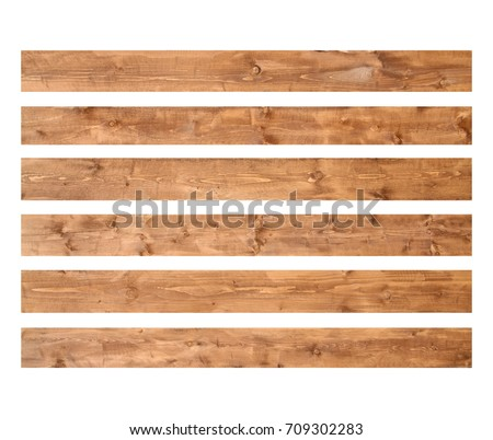 Old wood planks isolated on white background. Brown wooden texture.  Royalty-Free Stock Photo #709302283