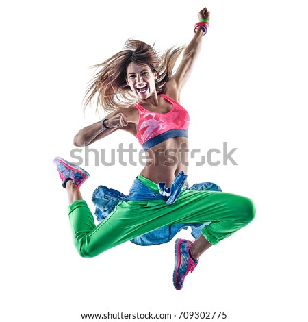 one caucasian woman cardio dancers dancing fitness exercising excercises in studio isolated on white background #709302775