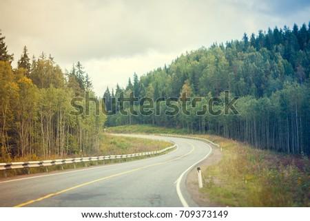 Road . Russian roads in Karelia #709373149