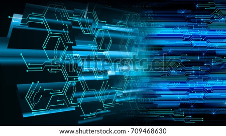 binary circuit future technology,blue cyber security concept background, abstract hi speed digital internet.motion move blur. pixel #709468630