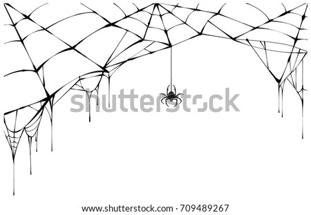 Black spider and torn web. Scary spiderweb of halloween symbol. Isolated on white vector illustration