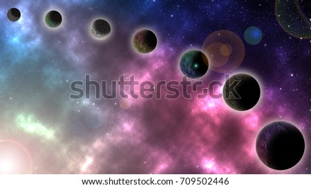 Universe filled with stars and galaxy abstract background. #709502446