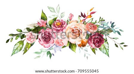 Watercolor flowers. Hand painted floral illustration. Bouquet of flowers rose. Design arrangement for textile or greeting card. Abstraction  branch of flowers isolated on white background.