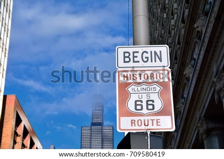 Route 66 sign, the beginning of historic Route 66, leading through Chicago, Illinois. #709580419