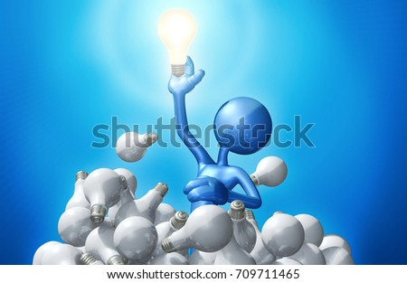The Original 3D Character Illustration Reaching For A Light Bulb  #709711465