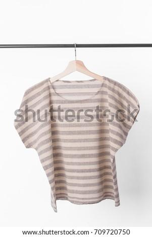 cotton brown stripe woman blouse on white background. #709720750