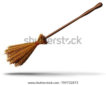 Witch broom object as an old magical besom for a wicked wizard as a halloween graphic element 3D illustration.