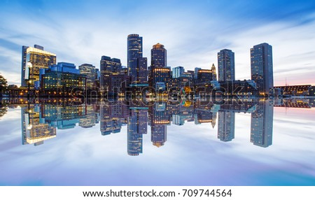 Boston Skyline from Downtown Harborwalk at dusk