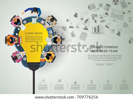Business meeting and brainstorming. Idea and business concept  for teamwork.   Vector illustration infographic template with people, team, light bulb and icon. Royalty-Free Stock Photo #709776256