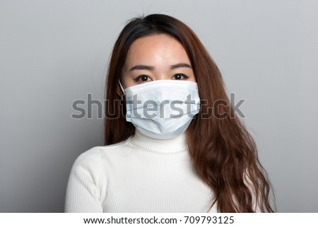 A Chinese young woman with a medical mask #709793125