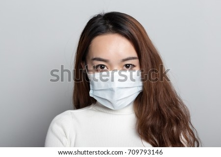 Chinese women with masks, all kinds of gestures #709793146