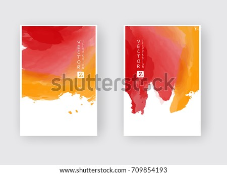 Watercolor red orange color autumn design banners set. Vector illustration