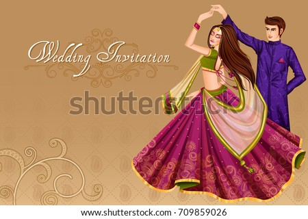 Vector design of Indian couple dancing in wedding Sangeet ceremony of India Royalty-Free Stock Photo #709859026