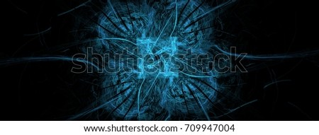 Abstract motion background art in illustration space geometry. Background consists of fractal multicolor texture and is suitable for use in projects on imagination, creativity and design. #709947004
