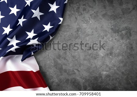United States of American flag border isolated on grey background with clipping path