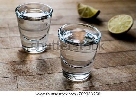 Mezcal Tequila Shots with Lime and Salt    #709983250