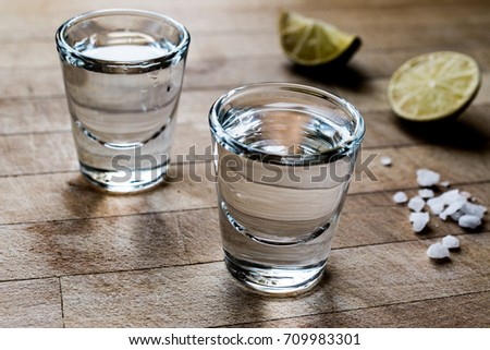 Mezcal Tequila Shots with Lime and Salt    #709983301