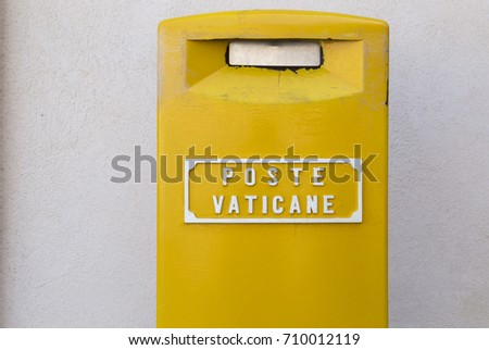 Yellow mailbox of the Vatican mail in St. Peter's Square in the Vatican #710012119