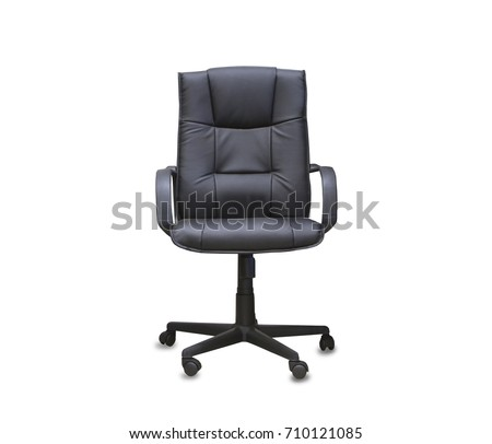 The office chair from black leather. Isolated #710121085