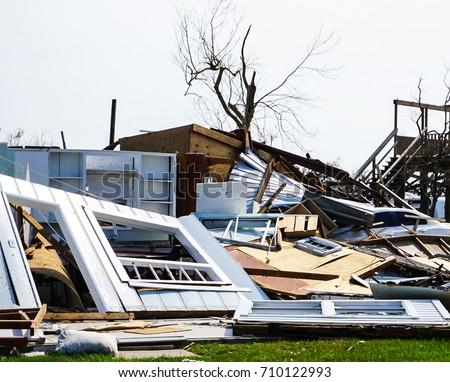 House destruction from powerful Hurricane Harvey on the Texas Coast