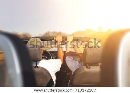 cabriolet on road and autumn sunset time  #710172109