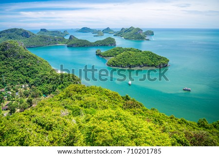 Beautiful tropical beach Ang Thong national marine park, Thailand from viewpoint #710201785