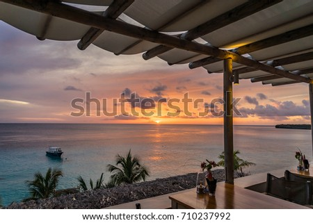Sunset at Coral Estate   Views around the Caribbean Island of Curacao  #710237992