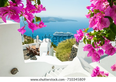 White architecture on Santorini island, Greece. Beautiful summer landscape, sea view.