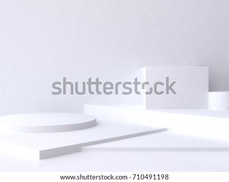 abstract geometric white floor scene 3d rendering