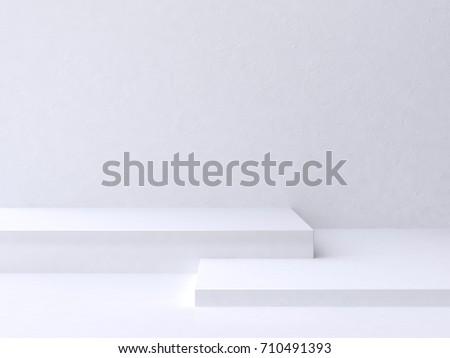 minimal scene square step floor white wall background 3d rendering