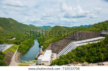 Hydroelectric power plant Srinakarin Dam.Kanchanaburi Thailand. #710533708