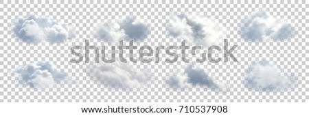 Vector set of realistic isolated cloud on the transparent background. Royalty-Free Stock Photo #710537908