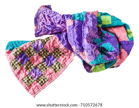 knotted handmade stitched silk patchwork scarf isolated on white background #710572678
