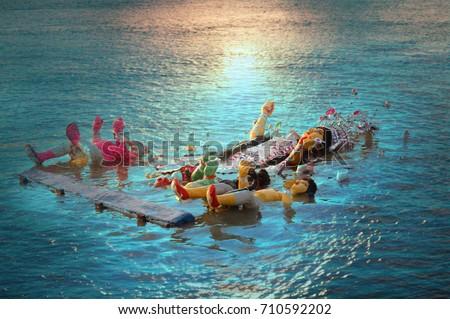 submersion of durga idol on the day of bijoya dosomi #710592202