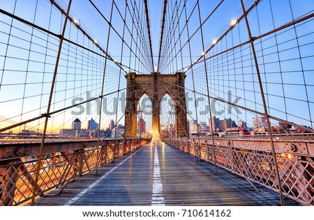 New York, Brooklyn bridge at nigth, USA Royalty-Free Stock Photo #710614162